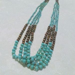 Turquoise Glass Wood Bead Multi Strand Necklace